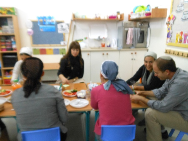 Efrata College study group, sharing a meal